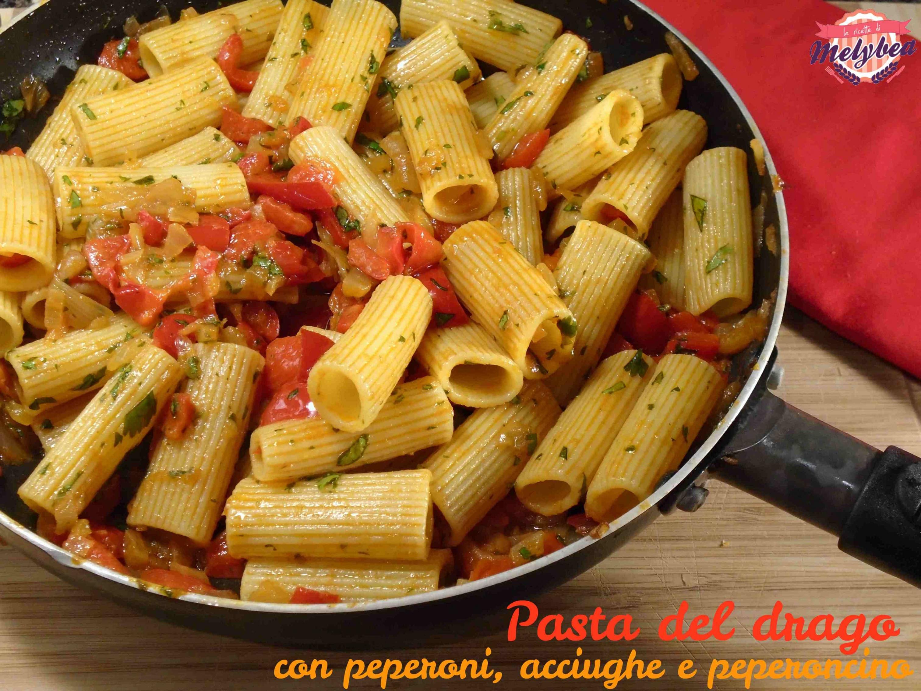 pasta del drago con peperoni acciughe e peperoncino