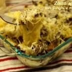 zucca spaghetti con funghi e mozzarella forchetta