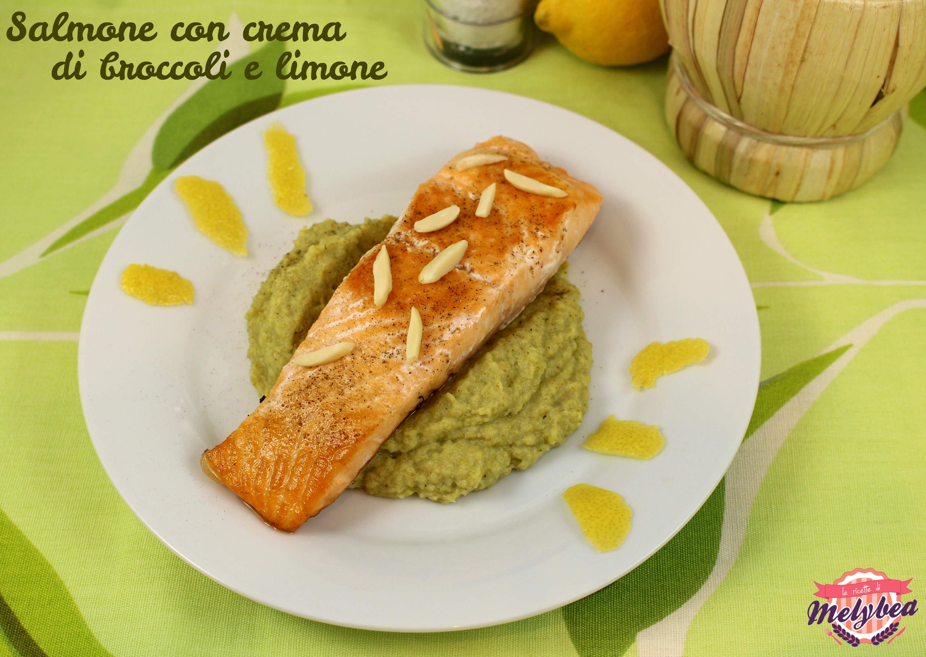 salmone con crema di broccoli e limone