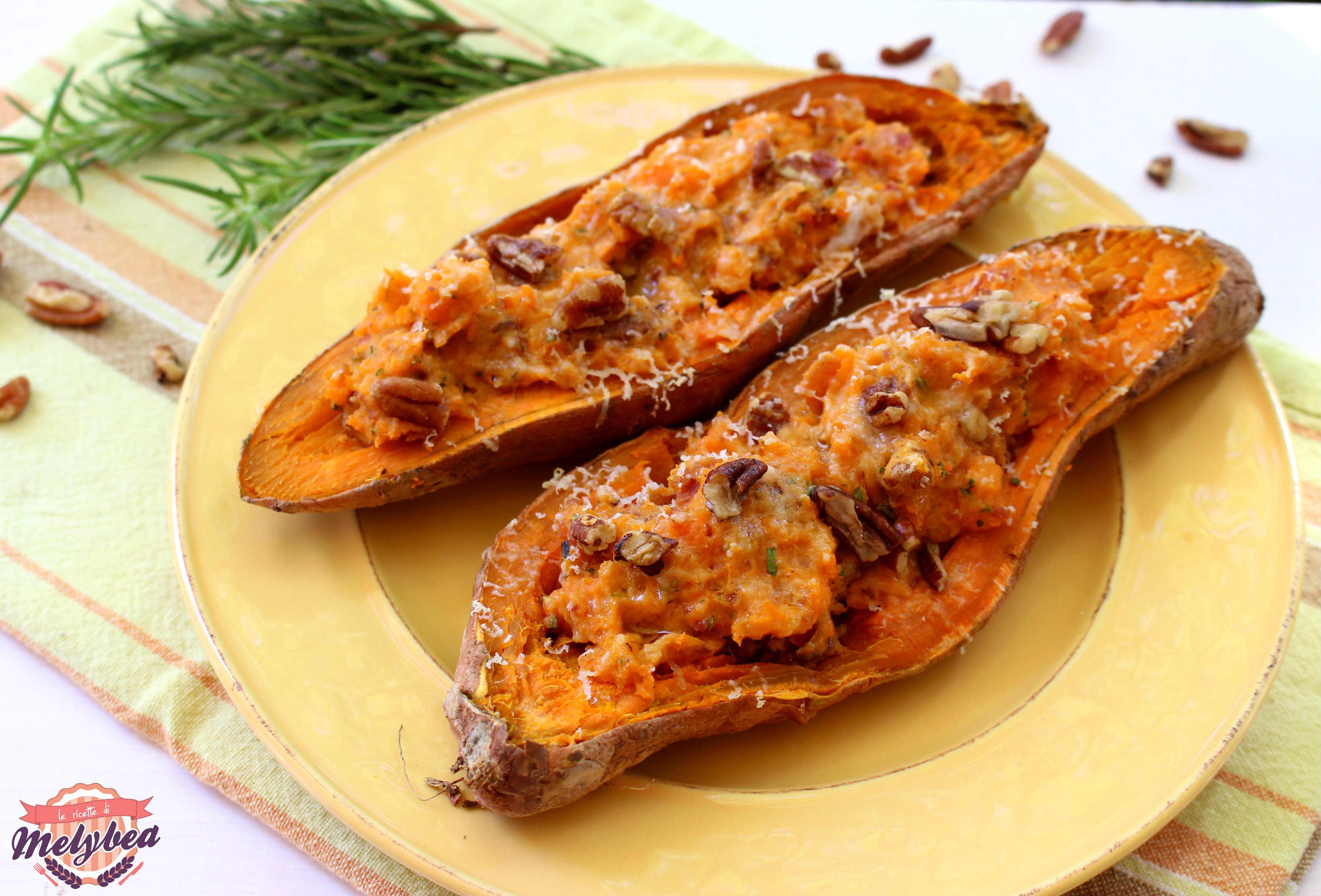 Patate dolci ripiene con bacon e noci