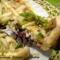 Torta salata con asparagi, funghi e radicchio