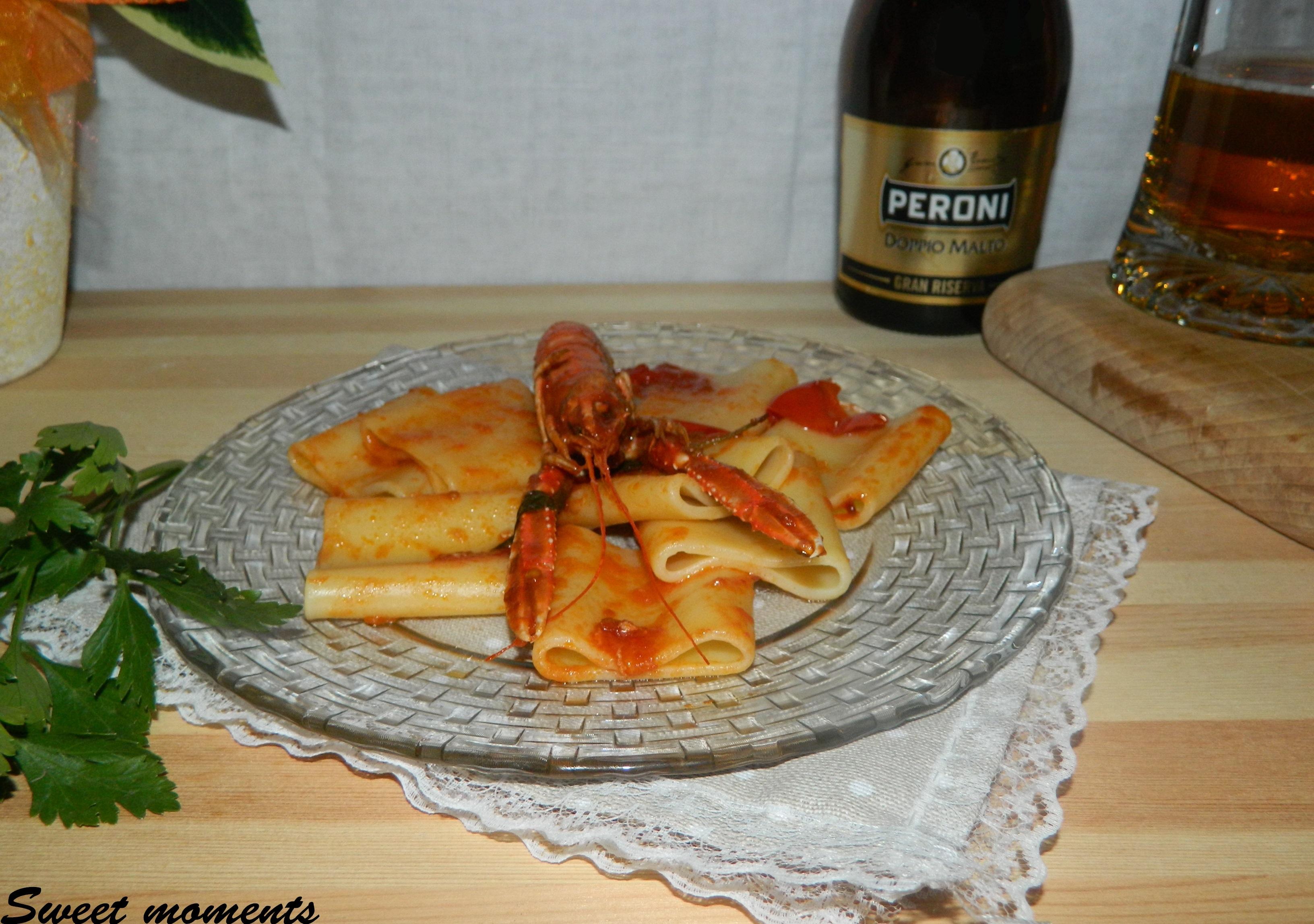 Paccheri con scampi con Birra Peroni