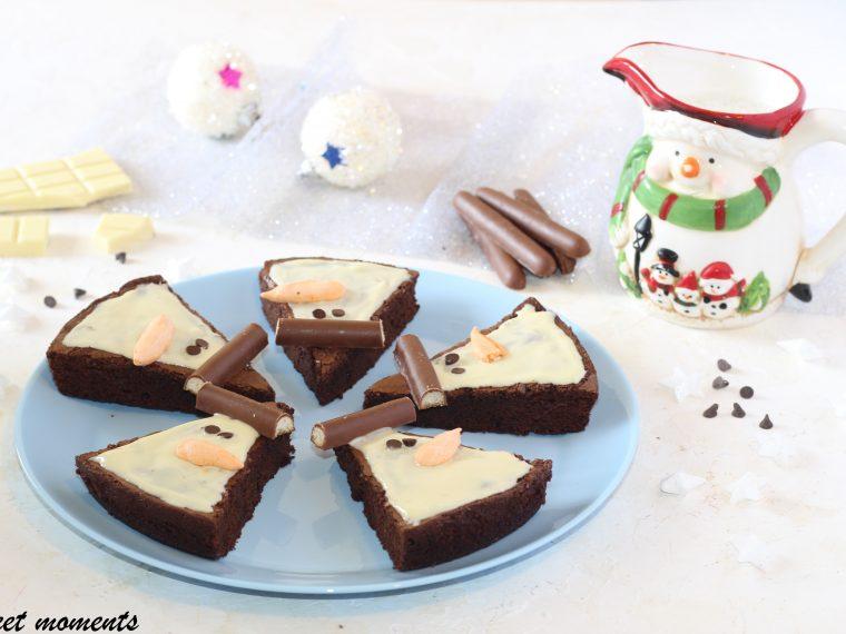 Snowman brownies al cioccolato