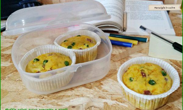 Muffin salati zucca pancetta e piselli