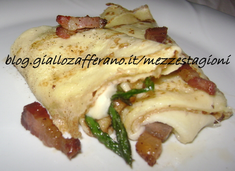 Crepes con asparagi, mozzarella e pancetta Crepes veloci Crepes Blog.giallozafferano.it/mezzestagioni