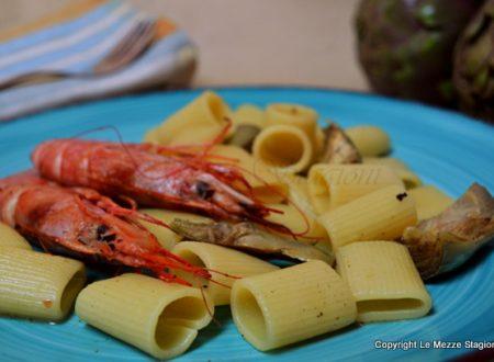 Pasta con carciofi e gamberi, ricetta