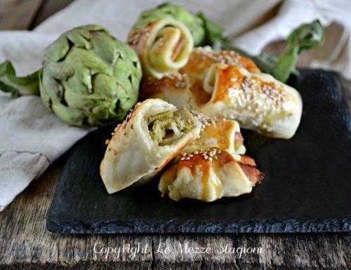 Salatini di sfoglia con carciofi e speck