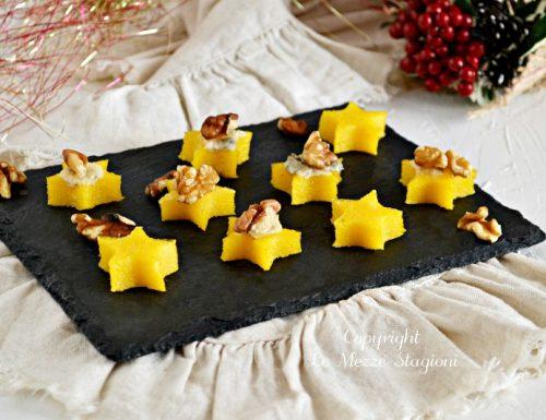 Tartine di polenta con gorgonzola e noci