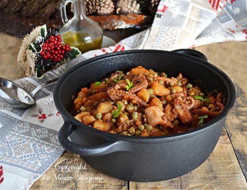 Moscardini con patate e piselli in umido