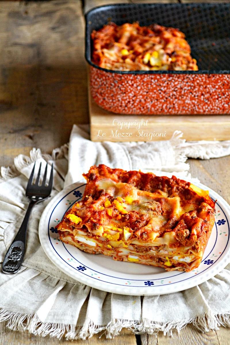 lasagne con ragù di salsiccia e uova