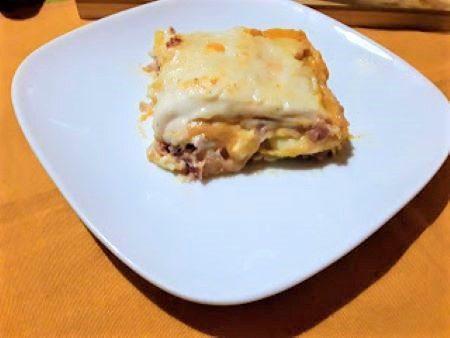 Lasagne con zucca, speck e scamorza