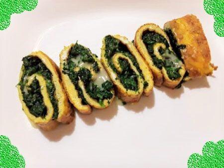 Rotolo di frittata con spinaci e taleggio