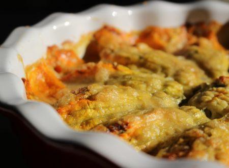 Fiori di zucca ripieni con ricotta e zucchine