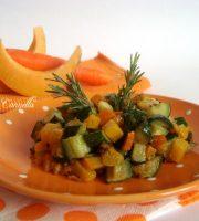 Zucca in padella con carote e zucchine