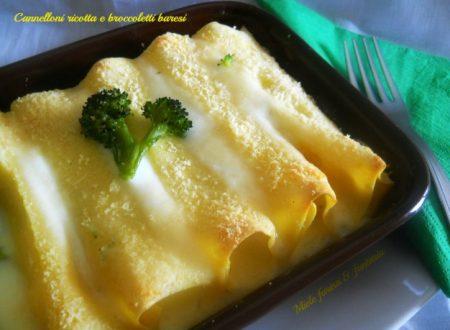 Cannelloni al forno con ripieno di ricotta e broccoletti baresi.