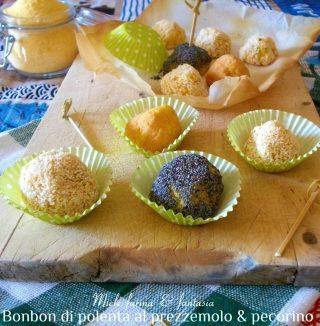 Bonbon di polenta al forno con prezzemolo e pecorino