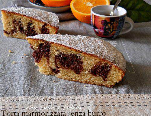 Torta marmorizzata al cacao e agrumi senza burro