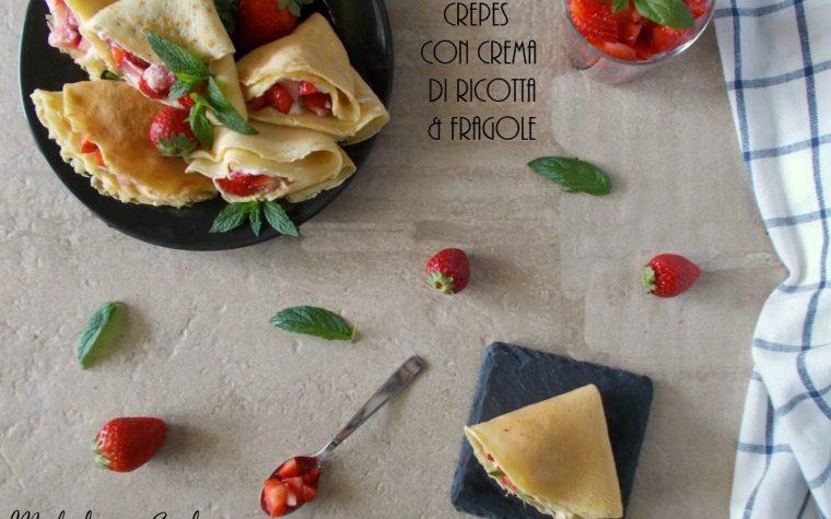 Crepes con crema di ricotta alle fragole.Ricetta senza glutine