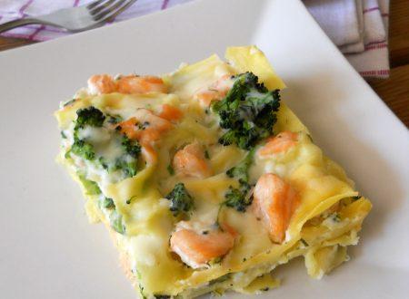 Lasagne con salmone fresco e cime di rapa