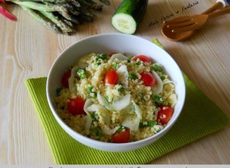 Bulgur con cetrioli e asparagi.Piatto freddo