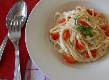 Spaghetti con ricotta di bufala e pomodorini