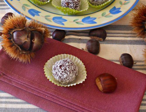 Tartufini di castagne al cacao e cocco