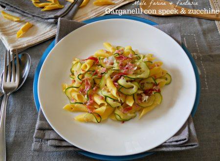 Garganelli con speck e zucchine