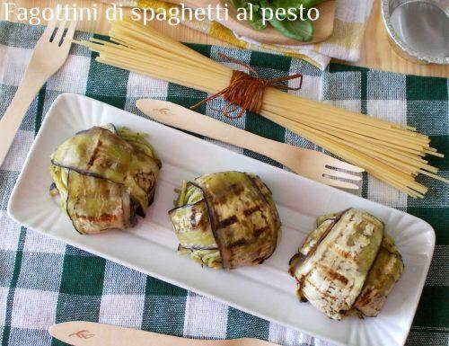 Fagottini di spaghetti al pesto di basilico