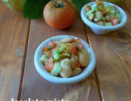 Insalata mista con agretti, fagioli e cetrioli