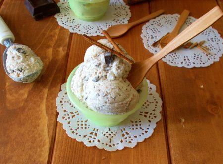 Gelato alla cannella senza uova con scaglie di cioccolato
