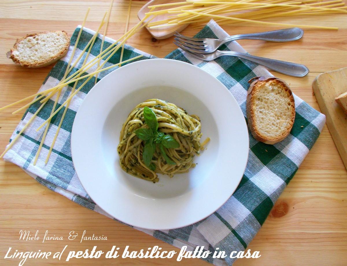 Linguine con pesto di basilico fatto in casa miele for Basilico in casa