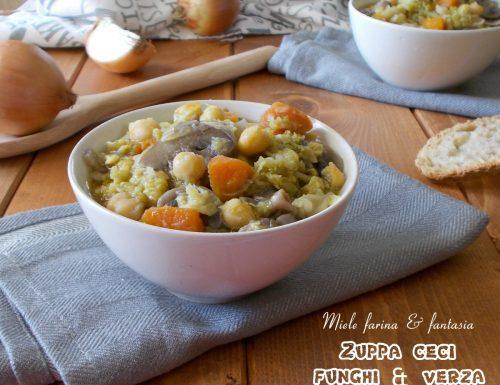 Zuppa di ceci con funghi e verza