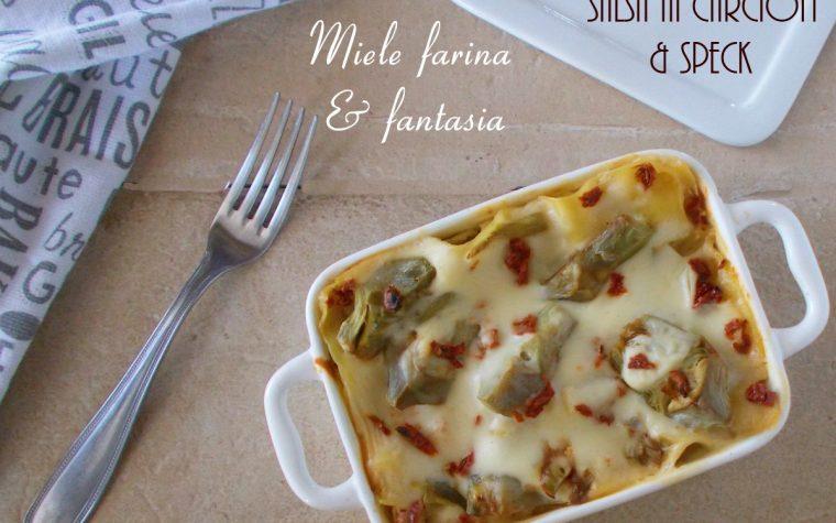 Lasagna con salsa ai carciofi e speck
