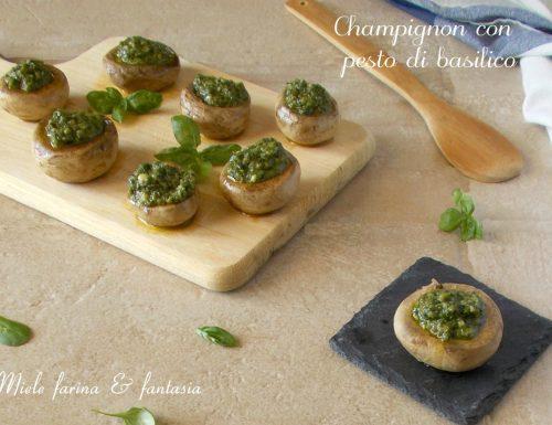 Champignon con pesto di basilico