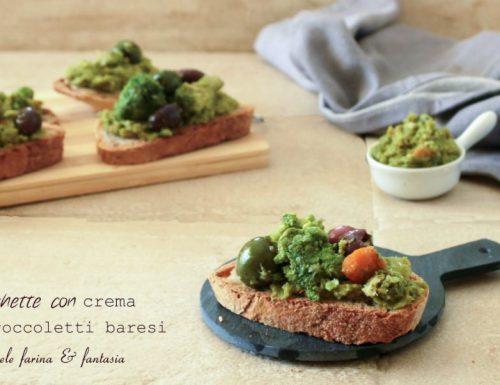 Bruschette con crema di broccoletti baresi