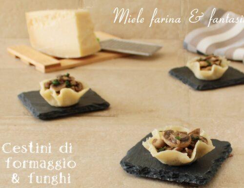 Cestini di parmigiano e funghi