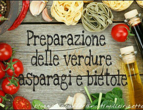 Preparazione delle verdure asparagi e bietole