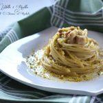 Pasta al pesto di pistacchi e pancetta a cubetti