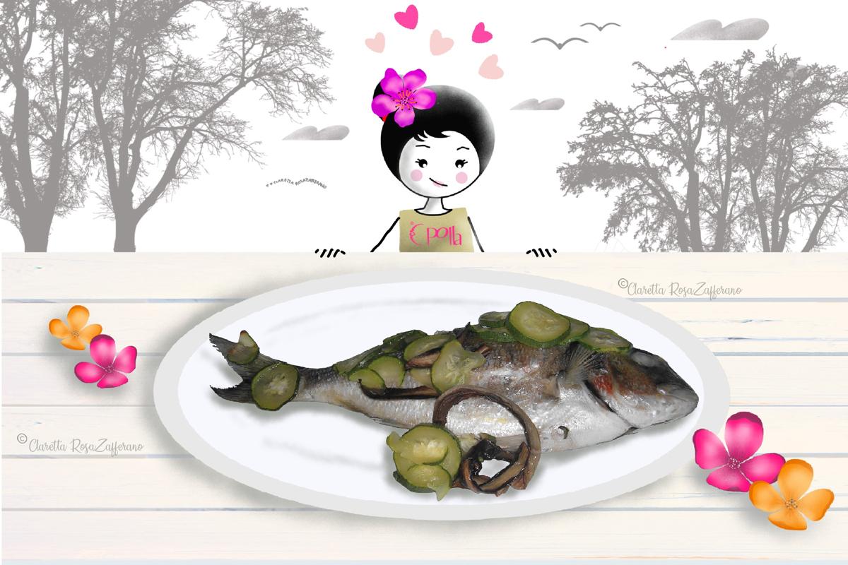 Orata al cartoccio con radicchio e zucchine