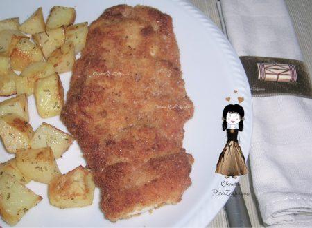 Cotoletta farcita, Contorno di patate al forno, Ricetta facile