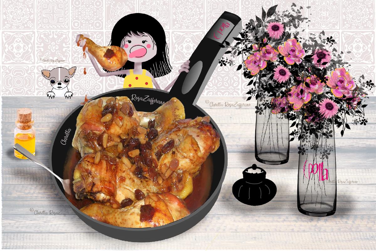 Cosce di pollo | Cosce di pollo al miele con pinoli e uvetta | Ricetta secondi piatti | Claretta RosaZafferano
