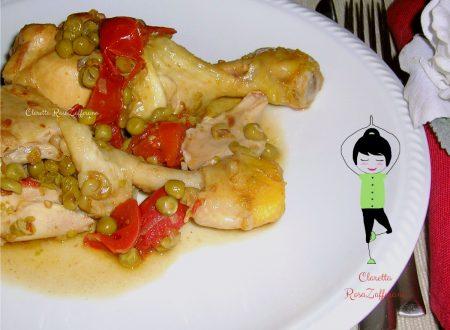 Cosce di pollo, Pollo con piselli, Pollo in padella, Ricetta semplice