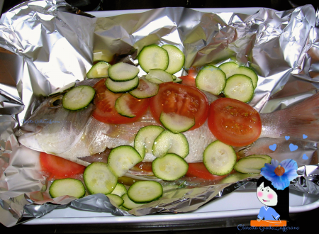 Dentice al forno con zucchine e pomodori, Ricetta di pesce