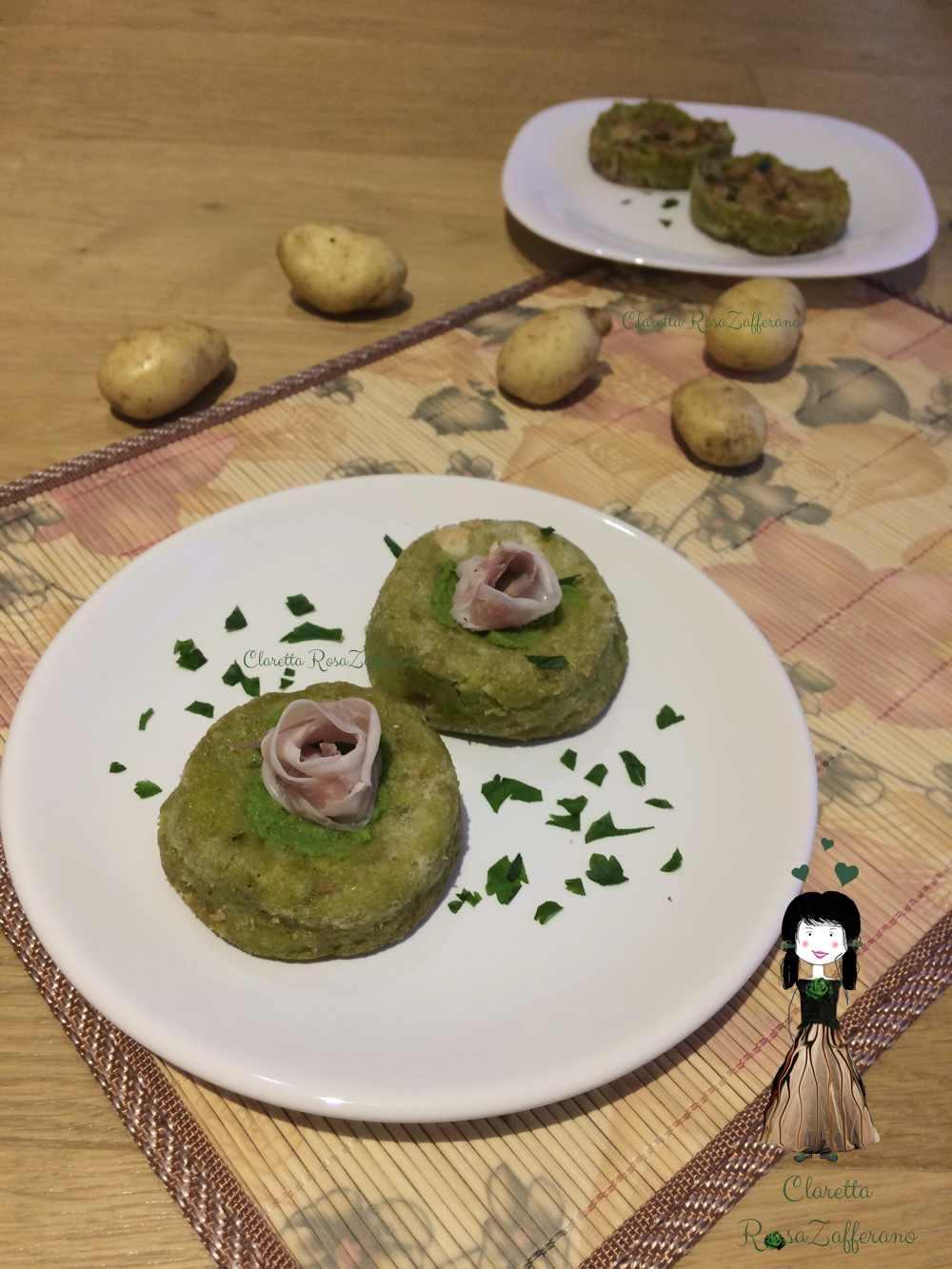 Sformatini di patate e piselli, Ricetta senza uova