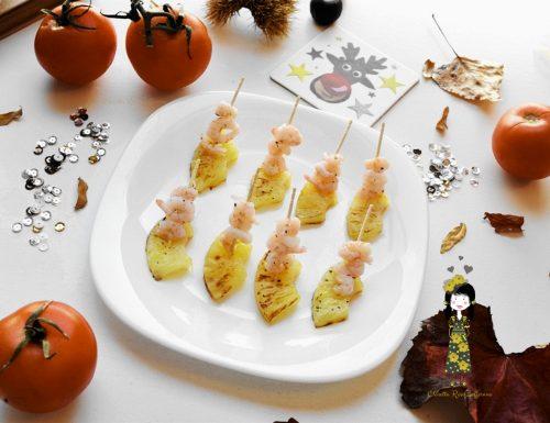 Finger food di pesce con ananas e gamberetti, Ricetta