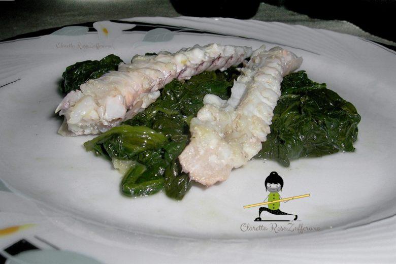 Canocchie lesse con spinaci, Ricetta