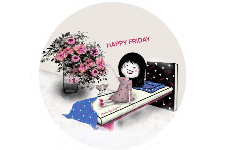 Happy Friday, uno Sticker RosaZafferano da scaricare gratis