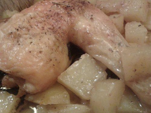 cosciotti di pollo  con patate al forno..