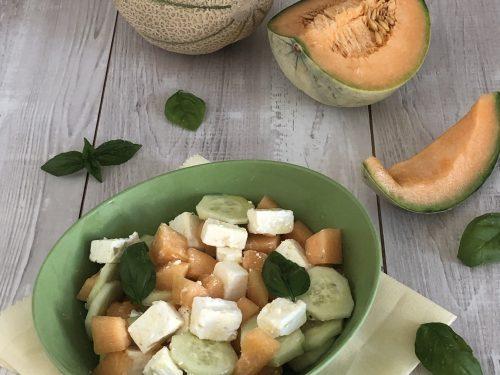 Insalata di melone e cetriolo con feta