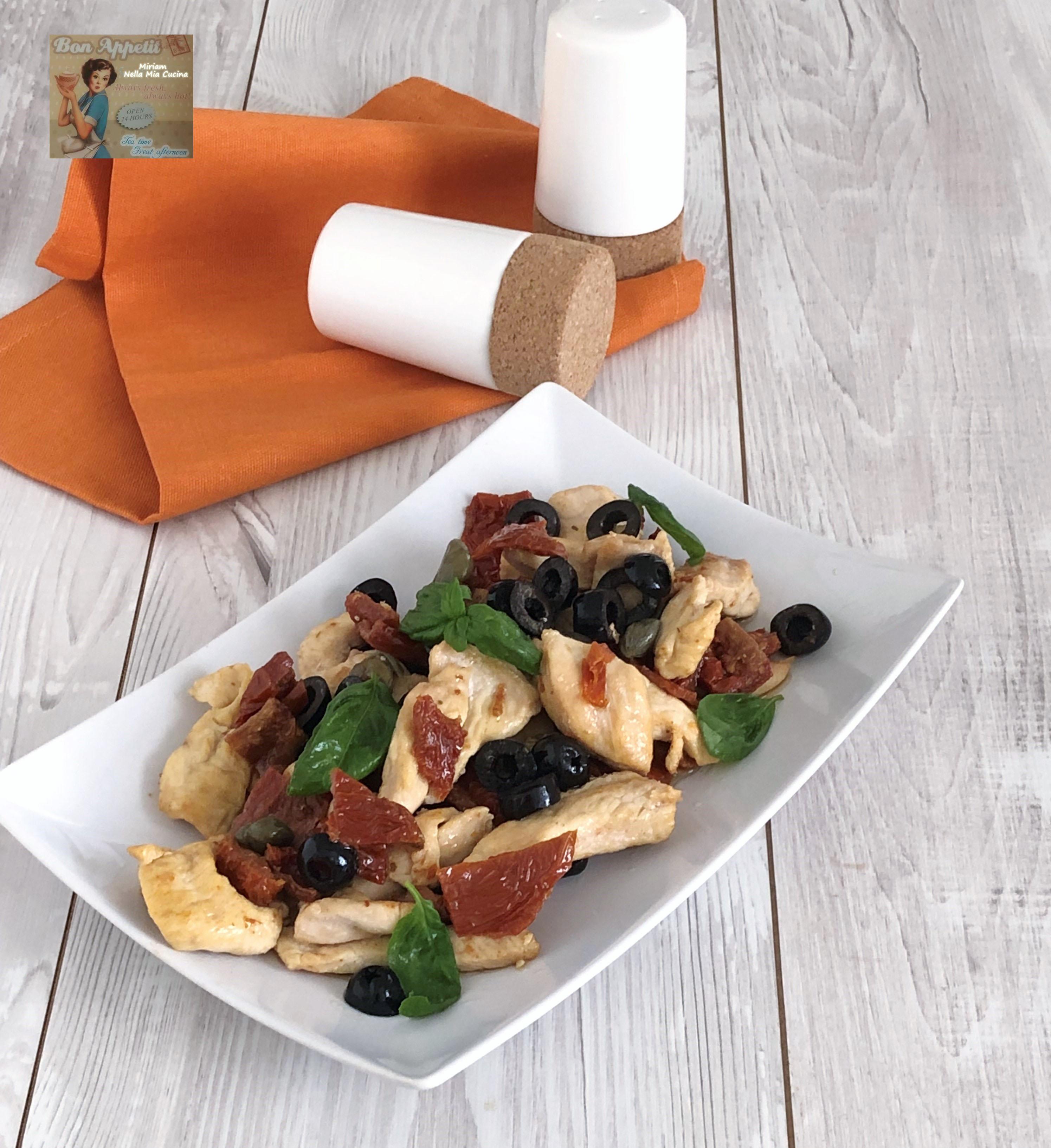 Bocconcini con pomodoro secchi , olive e capperi